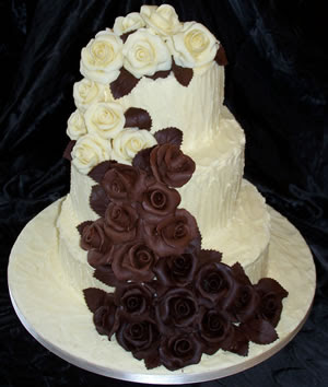 wedding cake white chocolate choc roses cascade