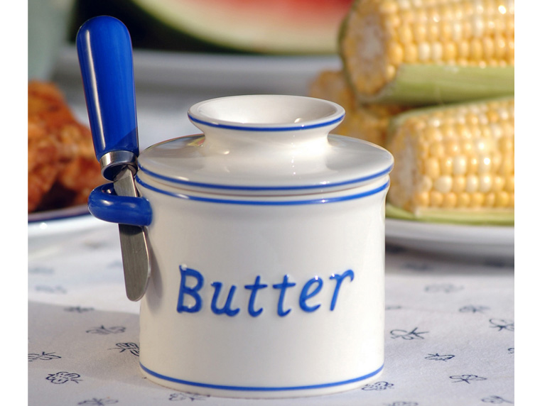 """Food director Carla Lalli Music said, """"I have a butter 'dish' and I use it to keep my (unsalted) butter at room temperature three hundred and sixty five f*cking days a year."""