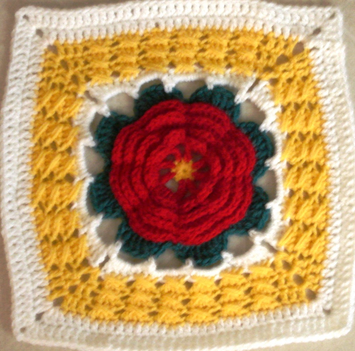 Free Crochet Rose Square Pattern : .: Katharines Rose - 12
