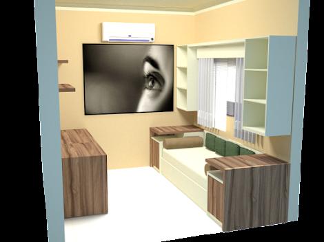 projeto escritório residencia com sofa-cama