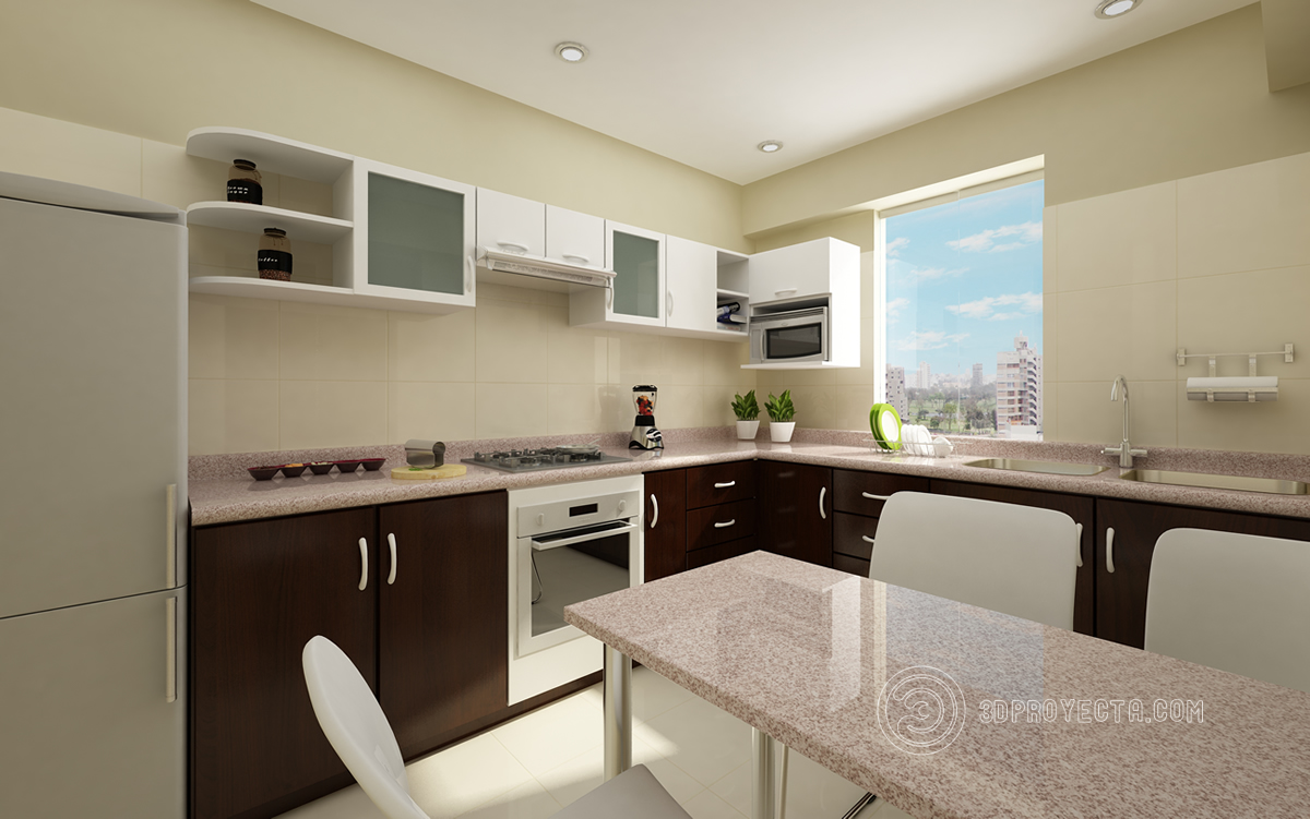 Vista en 3d de cocina en 3dmax vray vistas 3d lima for Vistas de cocinas
