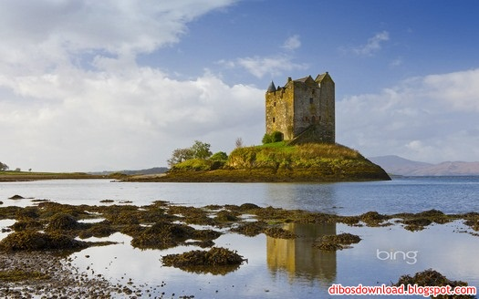 Castle Stalker on an island in Loch Linnhe Scottish Highlands Scotland