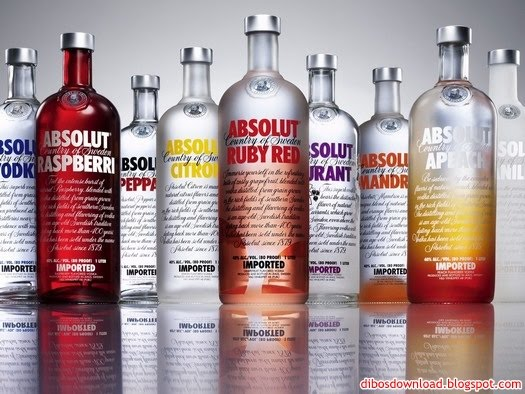 colored bottles of absolut vodka