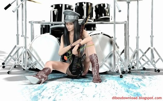 3d rock singer drums and electric guitar