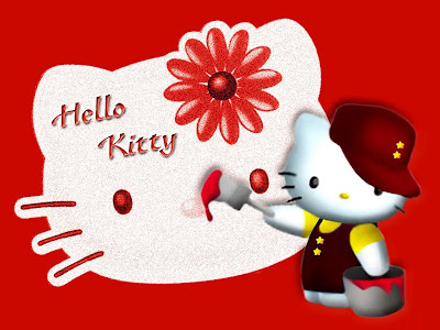 Kitty Wallpaper on Wallpaper 1024 768   Hello Kitty Painting Red Color Kitty Face