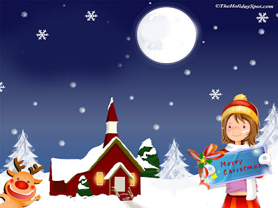 Holiday Wallpaper 1024 768 - Cute Girl Illustrated Merry Christmas