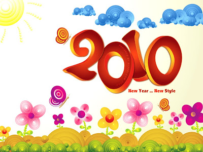 Celebration Wallpaper 1024 768 - 2010 Happy New Year Stylish Rounded Circles Landscape