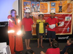 Demi and Chris-Jan trying on safety clothing.