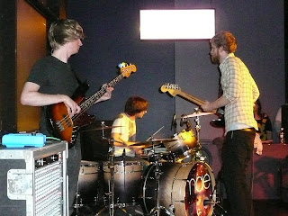 Mae's Mark Padgett (bass), Jacob Marshall (drums), and Zach Gehring (guitar) play at Northeastern University, November 2008.