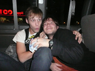 Barry MacKichan, singer for Kiros, gives my friend Eli a birthday hug.