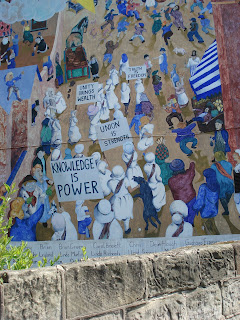 Mural on wall of Silk Mill pub Derby Silk Workers Procession 28 April 2007