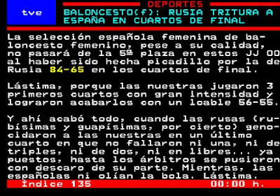 Captura de pantalla de una noticia del Teletexto de TVE - 20/08/2008