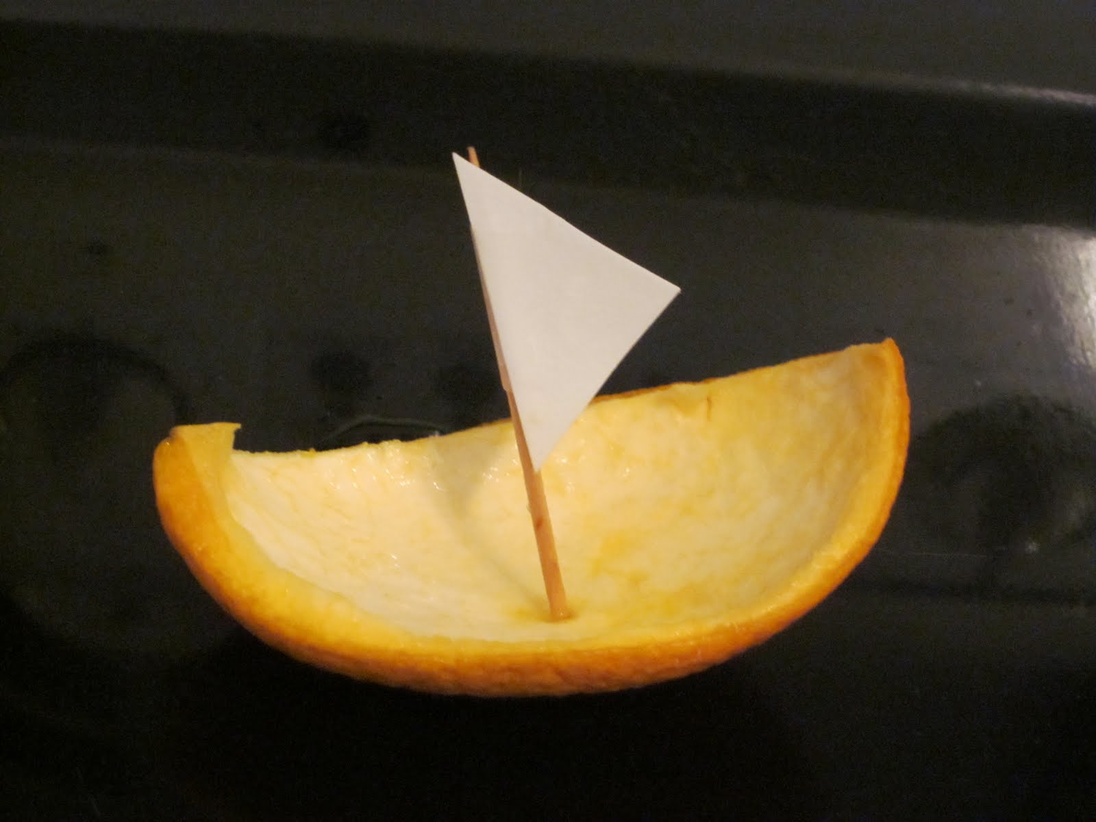 Sail Boat From Orange Peel Craft Project