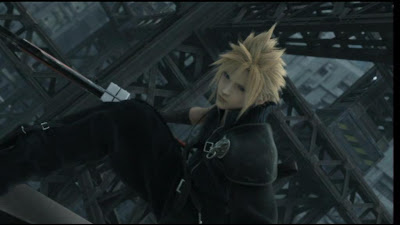 Cloud and his sword.