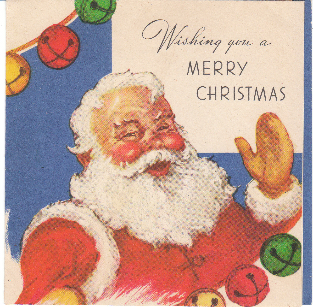 Vintage christmas card of the day santa claus with jingle bells