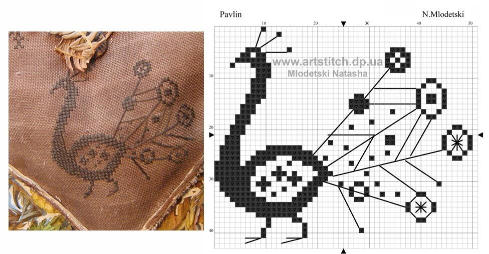 Вышивка крестом перо павлина схемы 57