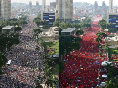 Anhänger und Gegner der Verfassungsreform in Venezuela füllen auf getrennten Demonstrationen die Straßen von Caracas