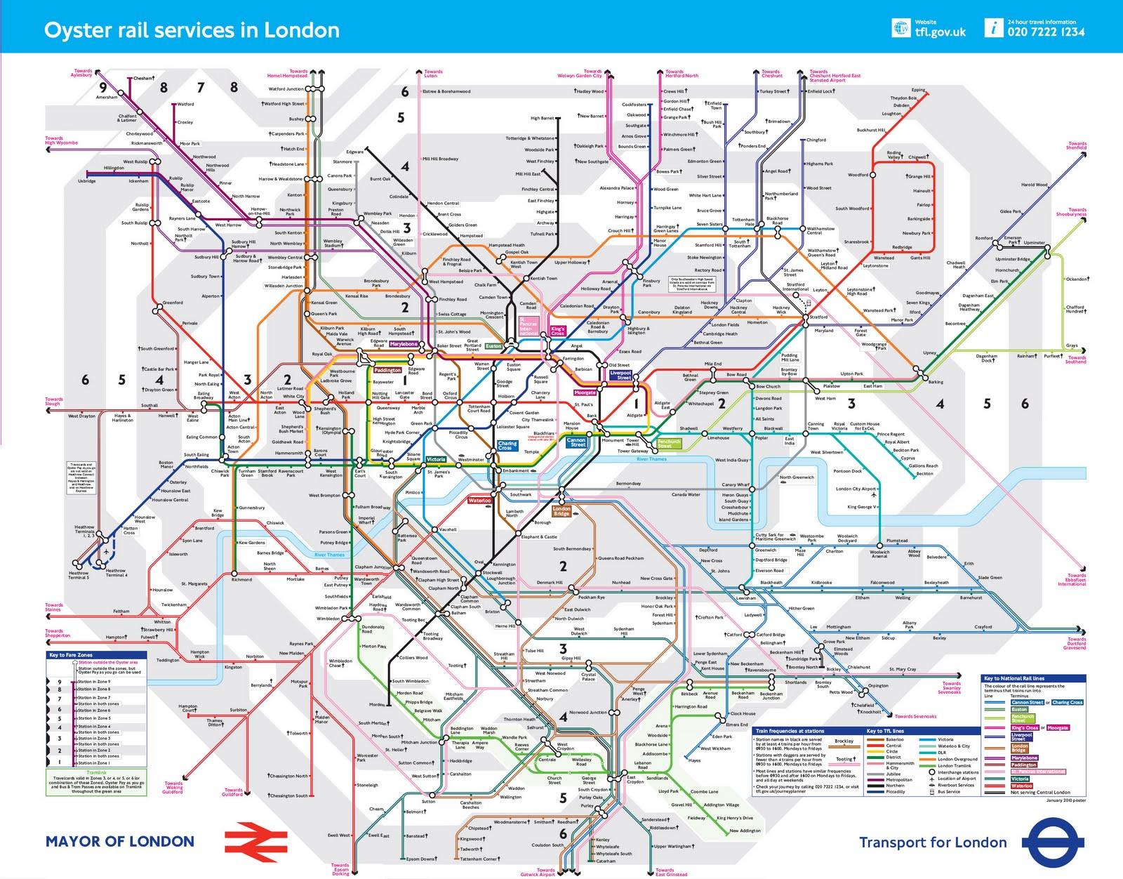 Схема автобусов лондона с зонами