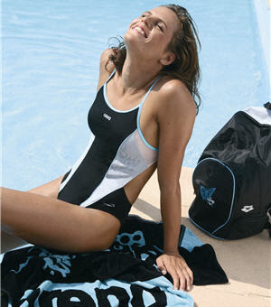 Laure Manaudou nude detail in this one piece swimsuit: