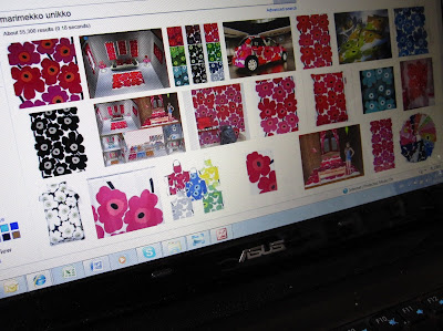 Computer screen showing a selection of images of Marimekko Unikko fabric.