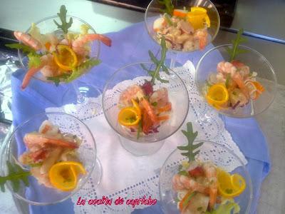La cocina de capricho coctel de gambas - Coctel de marisco con aguacate ...