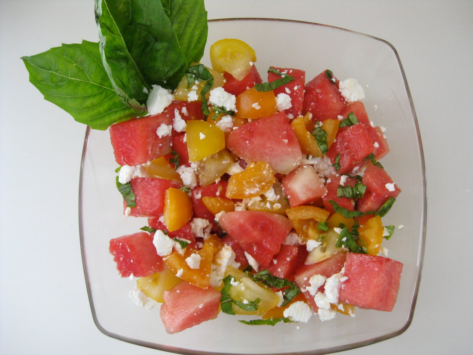 ...   food + party + style: TOMATO, WATERMELON AND GOAT CHEESE SALAD