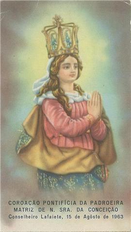imagem da padroeira (origem PORTO séc XVIII) --mas onde está esta coroa pontifícia?
