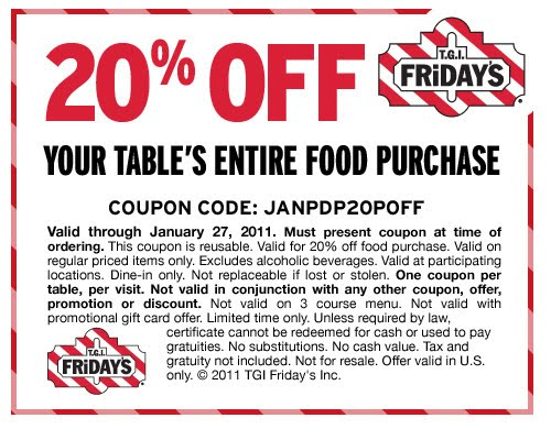 Fridays discount coupons
