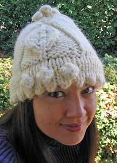 Leaf Bobble Hat in Lion Brand Wool Ease Thick-n-Quick