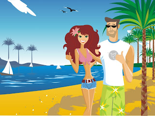 Couple On Beach wallpaper