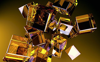 3D Gold Cubes wallpaper