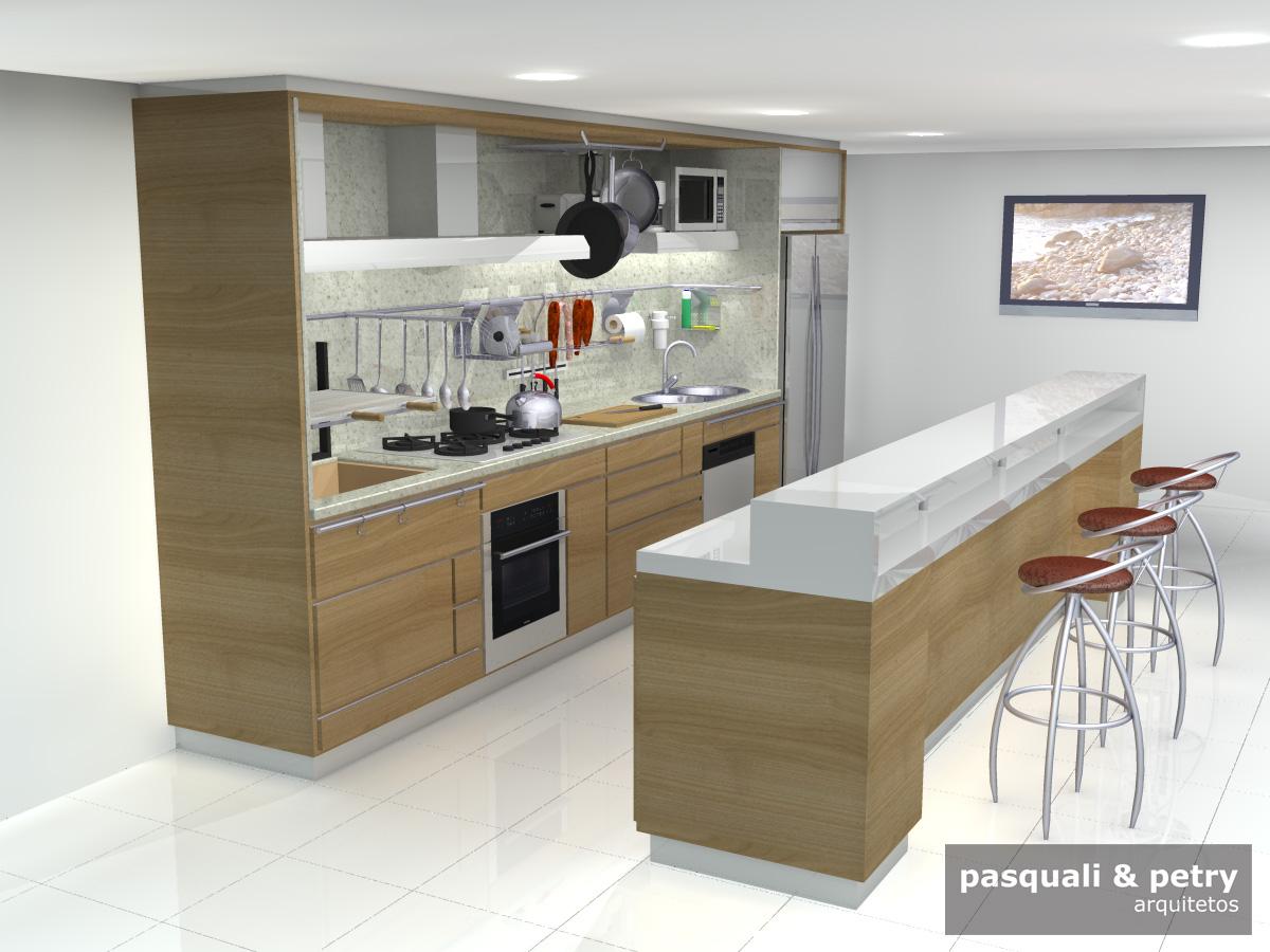 #604933 Pasquali & Petry Arquitetos: Projeto de cozinha modulada 1200x900 px Projetos De Cozinhas De Bares #503 imagens