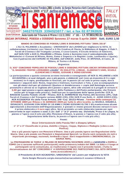 IL SANREMESE invita i soci e i lettori a part. al bando di poesia x l'OSCAR 2009/2010!