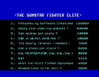 The humourous high score table in Gunstar ZX Spectrum