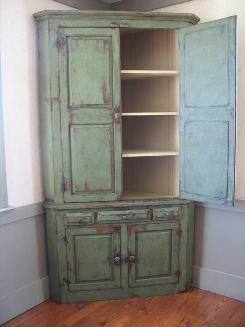 Corner Cabinet Distressed Painted Furniture