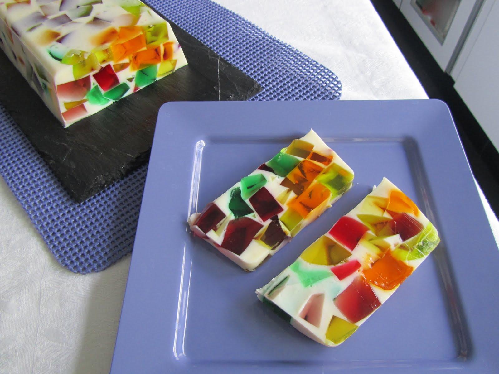 postre de gelatina de mosaico