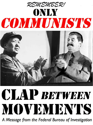 Mao and Stalin applauding—Remember! Only Communists Clap Between Movements