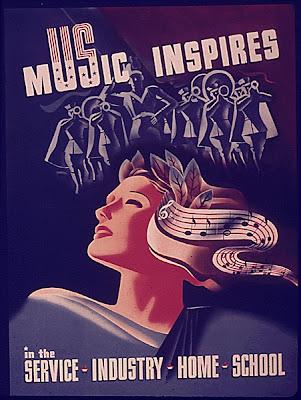 propaganda poster:Music Inspires