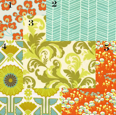 Yards and yards mix n 39 match orange teal and green - Does orange and green match ...