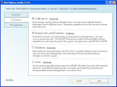 Microsoft Web Platform Installer中網站平台