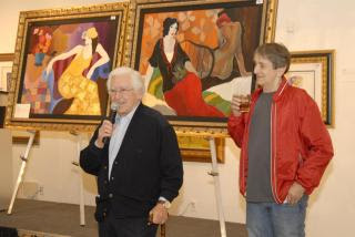 Anatole Krasnyansky (left) with Itzchak Tarkay (right) at Art Expo 2008