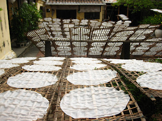 Banh Trang drying in the sun
