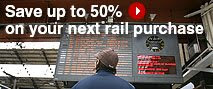 RailEurope ad reading 'Save 50% on your next rail purchase