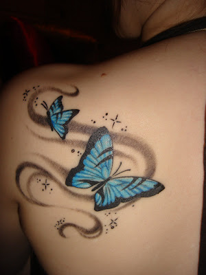 Sexy Blue Butterfly Tattoo for women