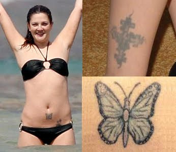 Drew Barrymore Butterfly Tattoos