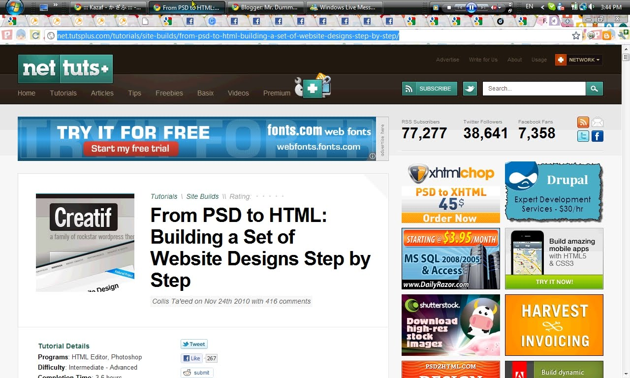 PSD To HTML/CSS Tutorials For Creating Website Layouts