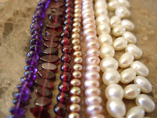 Pearls, Amethyst, and Garnet Beads from the Twisted Jeweler