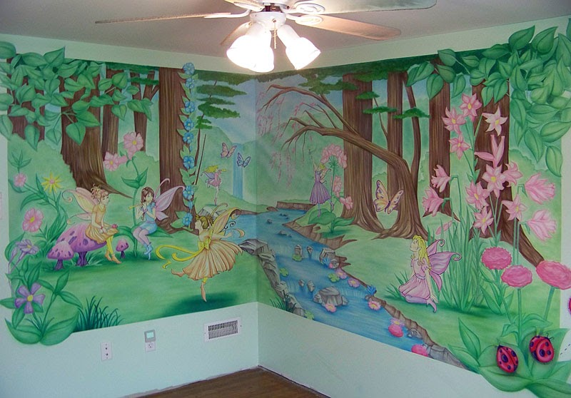 Chad gennuso enchanted forest mural for Fairy forest mural
