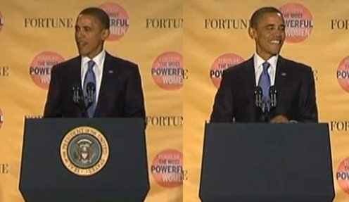 Podium - Before and After The President joked about the event immediately