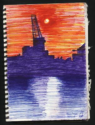dibujo atardecer Puerto Madero. Buenos Aires. Argentina